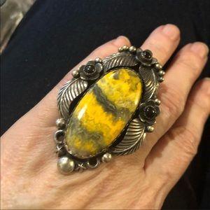 Gorgeous bumblebee jasper & onyx statement ring